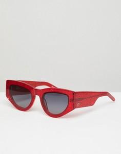 Красные блестящие солнцезащитные очки кошачий глаз Vow London Naomi - Красный