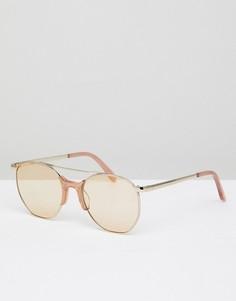Золотистые солнцезащитные очки-авиаторы Vow London Raine - Золотой