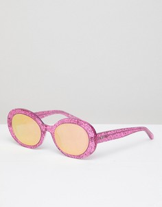 Розовые блестящие солнцезащитные очки Vow London Selena - Розовый