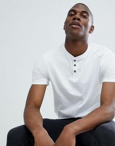 Белая футболка классического кроя с короткой планкой на пуговицах Burton Menswear - Белый
