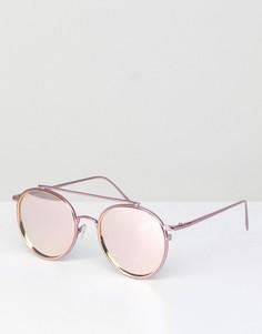 Розовые круглые солнцезащитные очки с золотистыми стеклами ASOS - Розовый