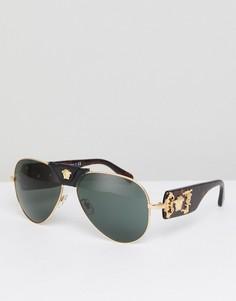 Солнцезащитные очки-авиаторы со съемной отделкой в виде медузы Versace - Черный