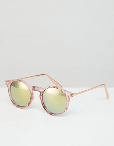 Солнцезащитные очки в круглой розовой оправе с металлическими дужками и зеркальными стеклами ASOS - Розовый
