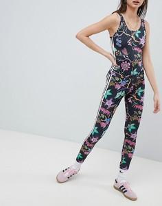 Леггинсы с цветочным принтом adidas Originals - Черный