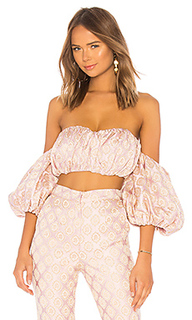 Shirred bustier with puff sleeves - LPA