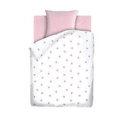 Детское постельное белье 3 предмета Непоседа, Коронки, розовый (простынь на резинке)