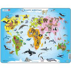 """Пазл Larsen """"Карта мира с животными"""", 28 элементов"""