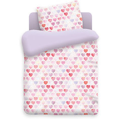 Детское постельное белье 3 предмета Непоседа, Сердечки, фиолетовый (простынь на резинке)
