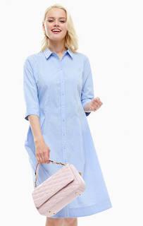 Синее платье-рубашка на пуговицах B.Young