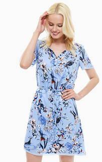 Синее платье с поясом Lerros