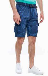Хлопковые шорты карго синего цвета Lerros