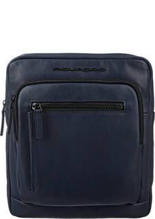Синяя кожаная сумка с карманами Piquadro
