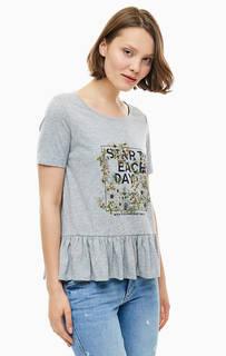 Серая футболка с цветочным принтом S.Oliver