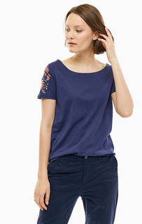 Синяя футболка с цветочной вышивкой S.Oliver