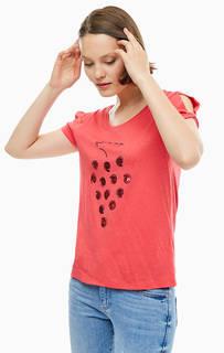 Красная футболка с отделкой пайетками S.Oliver