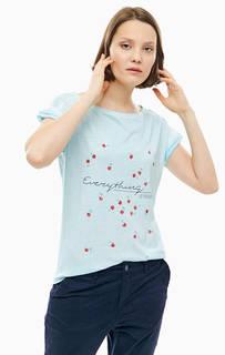 Голубая футболка с отделкой пайетками S.Oliver