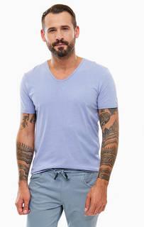 Однотонная хлопковая футболка с круглым вырезом Tom Tailor Denim