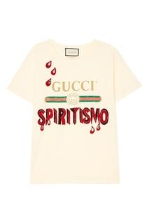 Футболка с комбинированным декором Gucci