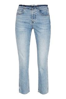 Голубые потертые джинсы 3х1