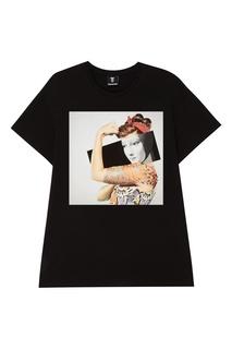 Черная футболка с коллажным принтом Diego Venturino