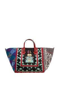 Хлопковая сумка с вышивкой Manilacaba Christian Louboutin