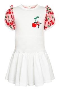 Белое платье с вишнями Fendi Children