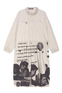 Серое платье-рубашка с принтом Mila Marsel