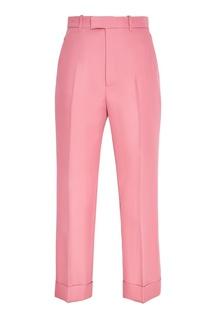 Однотонные розовые брюки Gucci