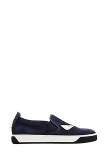 Синие замшевые слипоны Fendi