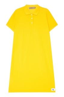 Желтое платье-поло из хлопка Calvin Klein