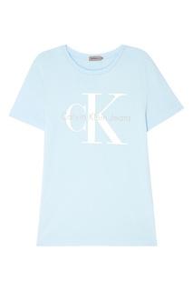 Голубая футболка с логотипом Calvin Klein