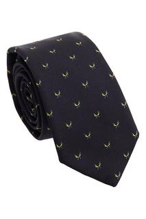 Черный шелковый галстук с узорами Fendi