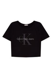 Черная хлопковая футболка с логотипом Calvin Klein
