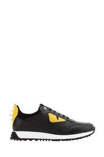 Черные кожаные кроссовки с нашивками Fendi
