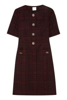 Бордовое шерстяное платье с пуговицами The Dress