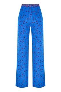 Синие брюки из шелка с принтом Marni