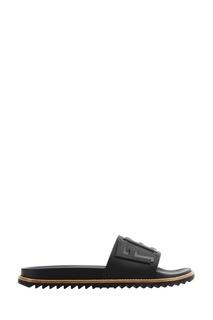 Черные сандалии с объемным логотипом Fendi
