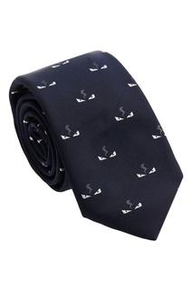 Синий шелковый галстук с узором Fendi