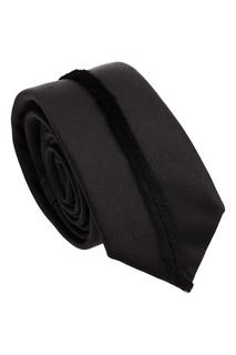Черный галстук с меховой полосой Fendi