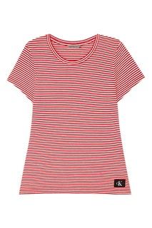 Хлопковая футболка в красно-белую полоску Calvin Klein