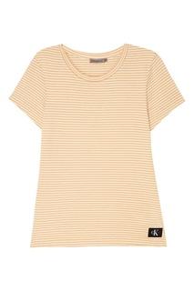 Хлопковая футболка в бежевую полоску Calvin Klein