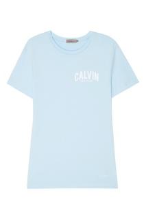 Голубая футболка с надписью Calvin Klein