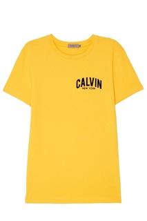 Желтая футболка из хлопка Calvin Klein