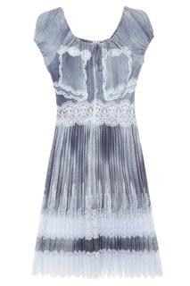 Плиссированное платье с кружевом Ermanno Scervino