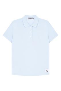 Голубая футболка-поло из хлопка Calvin Klein
