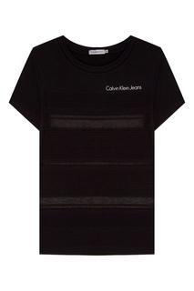 Черная футболка с полупрозрачными полосками Calvin Klein