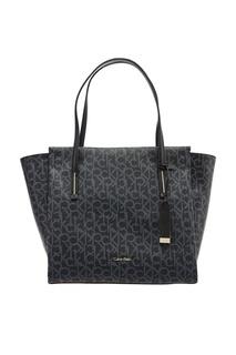Черная сумка-тоут с монограммами Calvin Klein