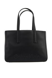 Черная сумка-тоут с логотипом Calvin Klein