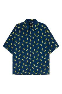 Синяя рубашка с принтом Fendi