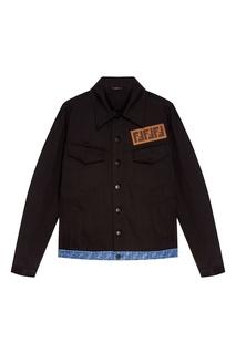 Черная куртка с монограммой Fendi